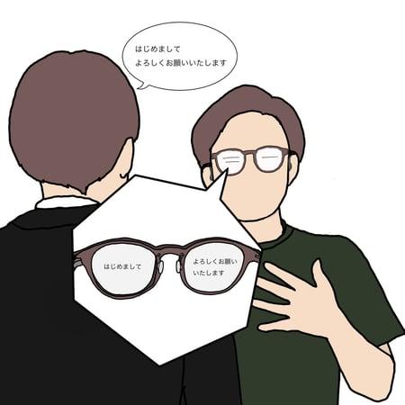 「はじめまして、よろしくお願いします」という言葉が眼鏡のレンズに映し出されている