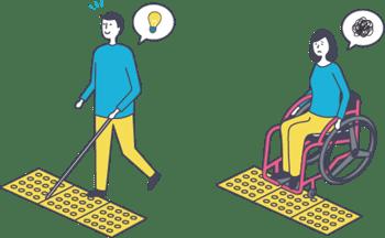 視覚障害者に便利な点字ブロックが、車いす使用者には不便になっている図