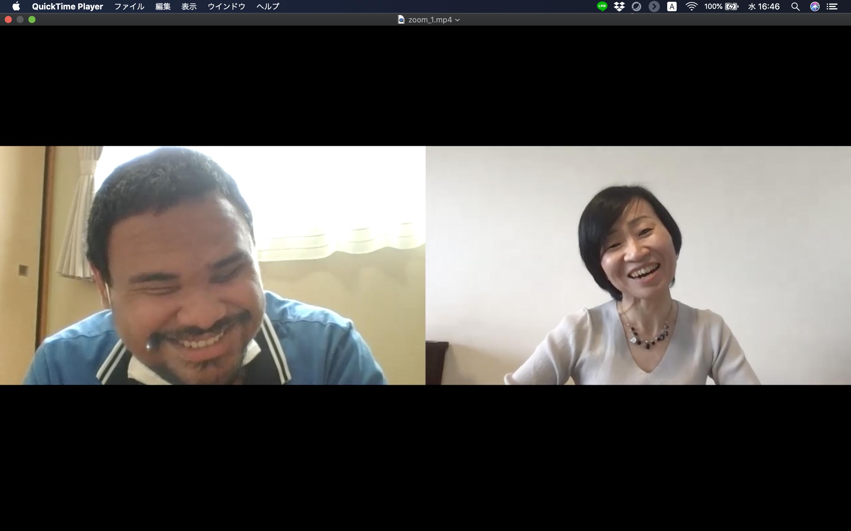写真 オンライン上で話す、アリさんと合澤の様子
