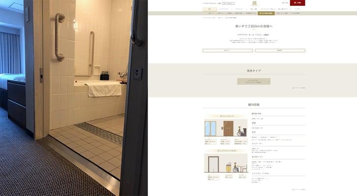 画像 ホテル客室とホームページでの部屋紹介の様子