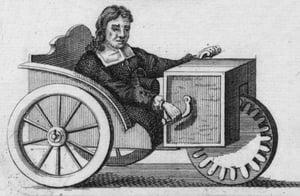 【画像】1655年の自走式の手漕ぎの椅子の絵