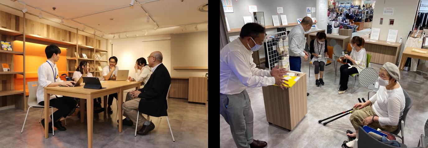 【写真】左:5名がテーブルを囲んで話す様子、右:3名が椅子に座り、靴下を体験する様子