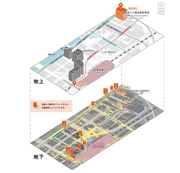 地上と地下を表示したマップ