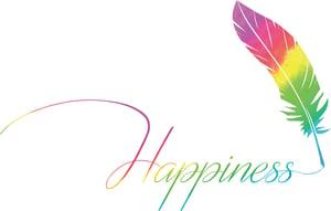 【ロゴマーク】Hapinessと鳥の羽が虹色で描かれている