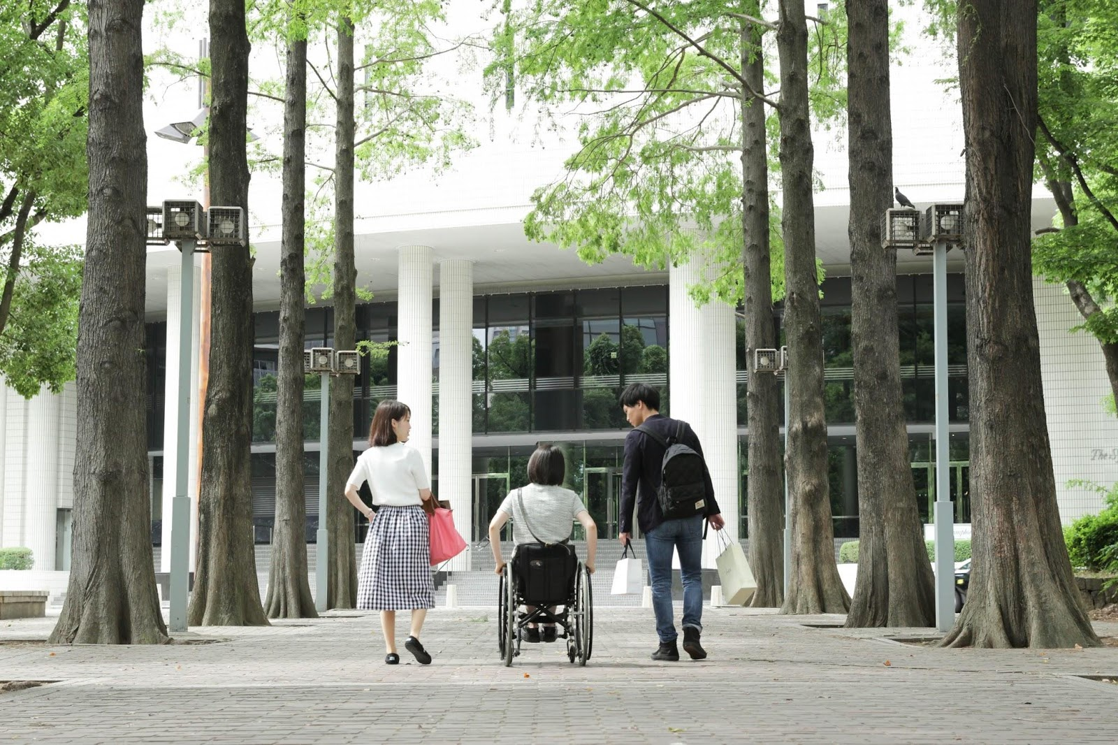 車椅子ユーザーと障害のない人が一緒に歩く様子