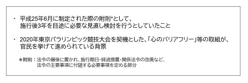 平成25年6月に制定された際の附則として、施行後3年を目途に必要な見直し検討を行うとしていたこと。2020年東京パラリンピック競技大会を契機とした、心のバリアフリー等の取り組みが官民を挙げて進められている背景。